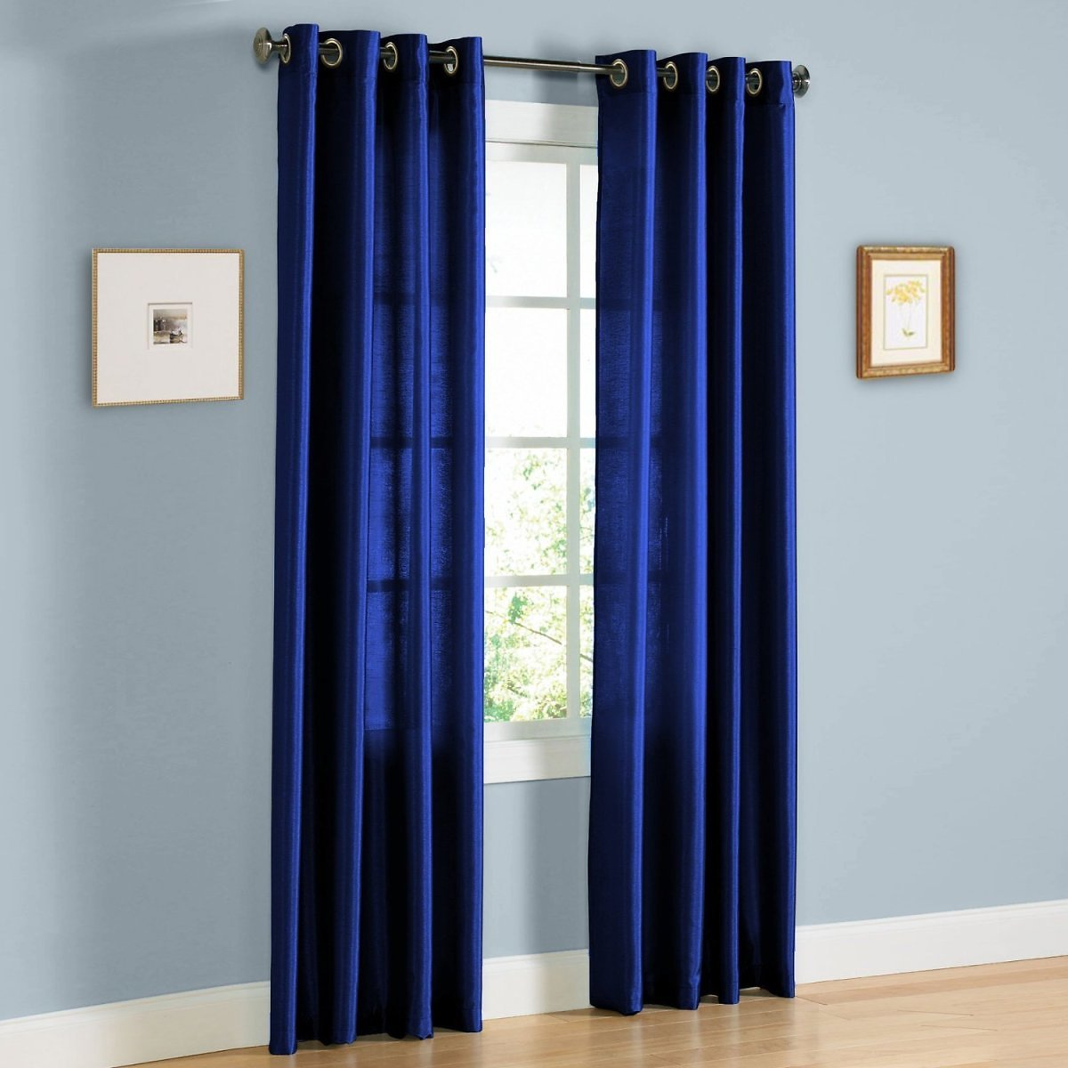 2 PANEL MIRA SOLID ROYAL BLUE SEMI SHEER WINDOW FAUX SILK ANTIQUE BRONZE GROMMETS CURTAIN DRAPES 55 WIDE X 84