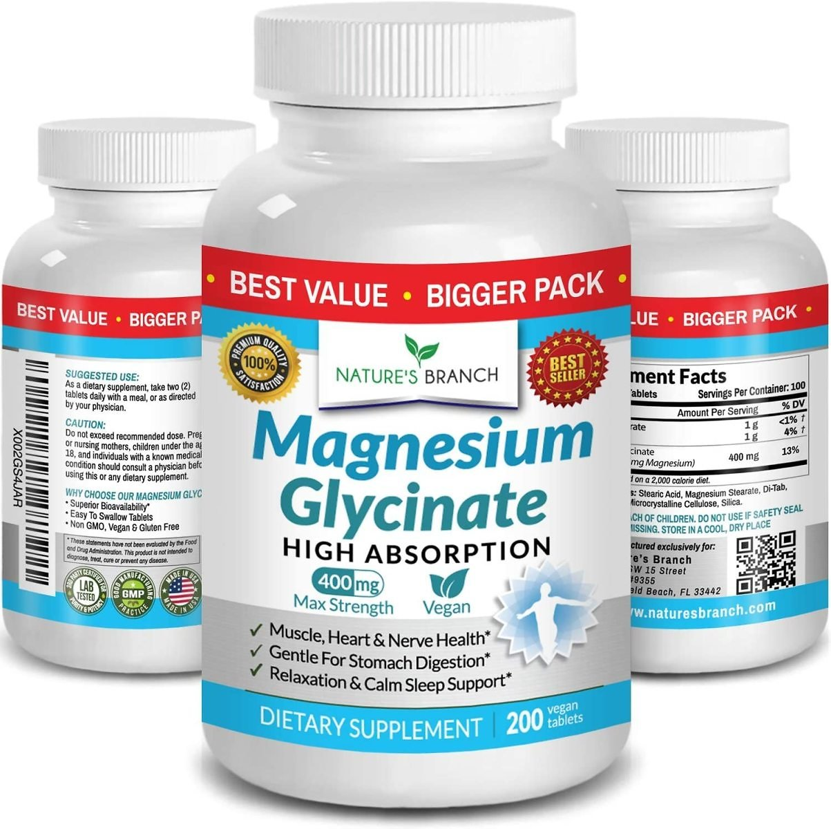 Magnesium Glycinate 400 Mg - 200 Tablets - High Absorption, Non Buffered Bisglycinate Mag Supplement
