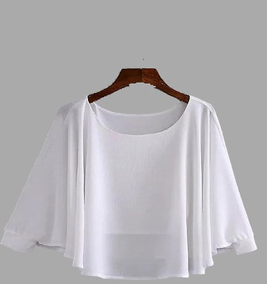 White Color Round Neck Long Sleeves Blouse - US$9.99 -YOINS