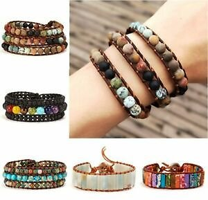 Handmade 7 Chakra Natural Stone Beads Bracelet Bangle Wrap Bangle Jewelry Gift