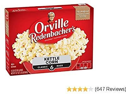 Orville Redenbacher's Kettle Corn Microwave Popcorn, Gluten Free, 3.28 Ounce Classic Bag, 6-Count, Pack of 6