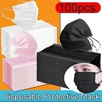 100/50pcs Face Mouth Anti Dust Disposable Mouth Cover Protect 3 Layers Filter Dustproof Earloop Non Woven Facial Mouth Cover Unisex | Wish