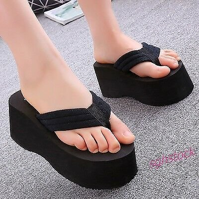 New Womens Summer Casual Beach Sandals Slippers Platform Clip Toe Wedge Shoes