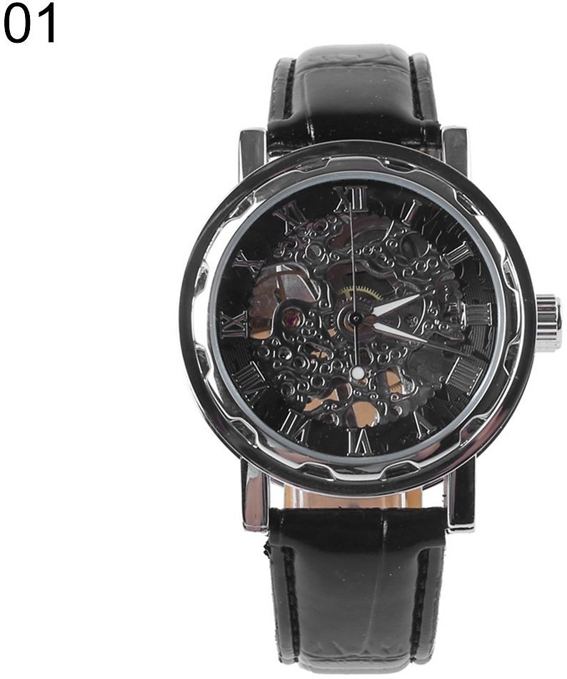 Besufy Classic Men's Faux Leather Skeleton Hand-Wind Mechanical Sports Army Wrist Watch