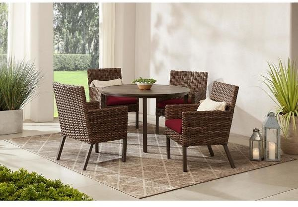 Fernlake 5-Piece Taupe Wicker Outdoor Patio Dining Set with CushionGuard Chili Red Cushions