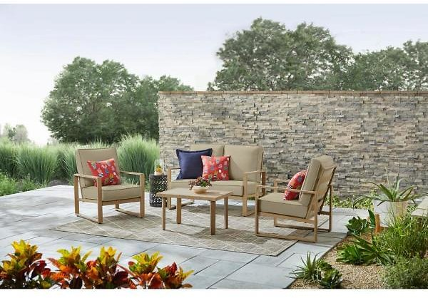 Hampton Bay Mansford Park Aluminum 4-Piece Deep Seating Set with Beige Cushions PH20TL4S