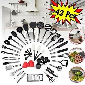 42PCS/Set Home Cooking Tools Kitchen Utensils Nylon and Stainless Set Utensil
