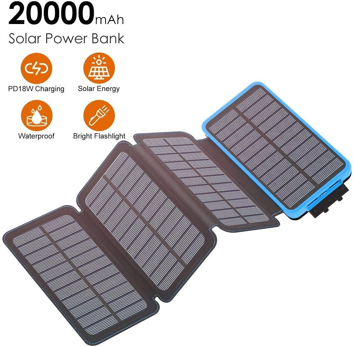 Xanland 20000mAh Solar Charger 18W PD Power Bank Portable USB C Charger with QC 3.0 Output for IPhone 11, IPad, MacBook and USB-