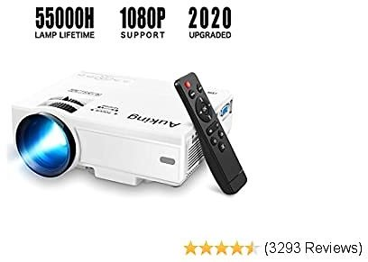 Mini Projector 55000 Hours Multimedia Home Theater Compatibleith Full HD 1080P HDMI,VGA,USB,AV,Laptop,Smartphone