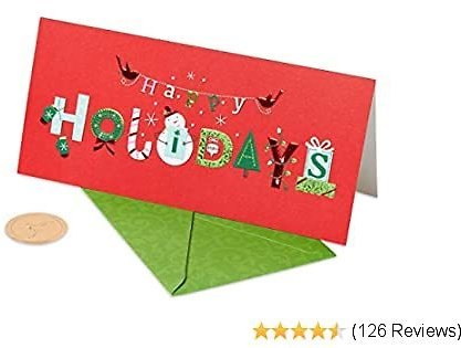 Papyrus Money Holder Christmas Cards Boxed, (16-Count)