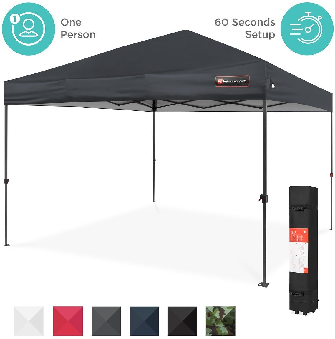 One-Person Setup Instant Pop Up Canopy w/ Wheeled Bag + F/S