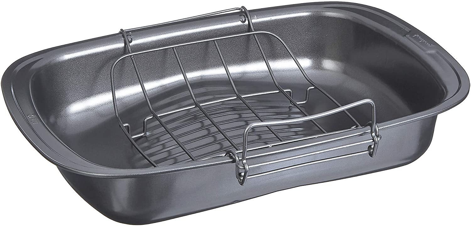 Goodcook Quick Roaster Pan and Locking Rack, with Juice Gathering Pools for Easier, Safer, Faster Basting, 17x12x3 Inches, Grey