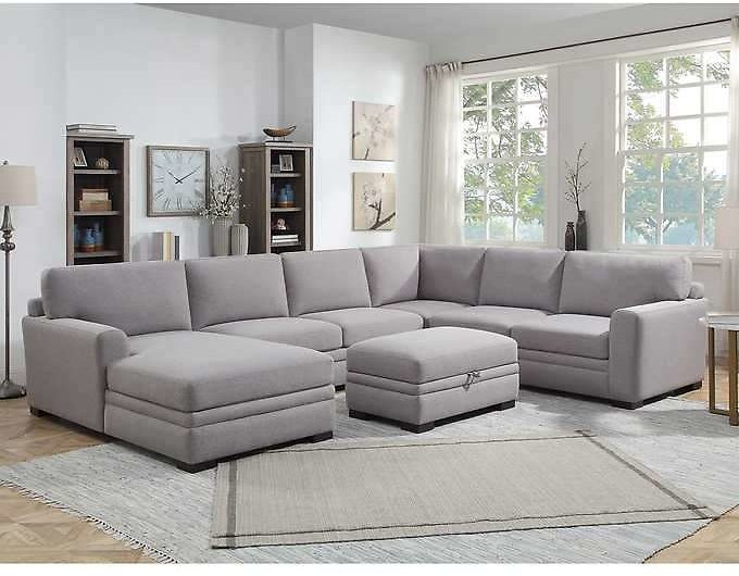 Thomasville Fabric Sectional with Storage Ottoman