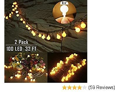 50%OFF Twinkle Star Fairy Starry String Lights Battery Powered, 2 Pack Total 100 LED 32 Ft Ball Christmas String Lights