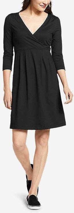 Women's Aster 3/4-sleeve Crossover Dress With Pockets - Solid   Eddie Bauer