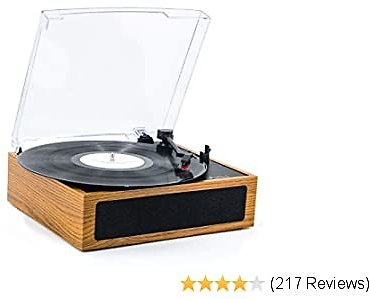 50%OFF LP&No.1 3 Speed Belt-Drive Bluetooth Turntable with Stereo Speakers, Vintage Vinyl Record Player,Yellow Brown