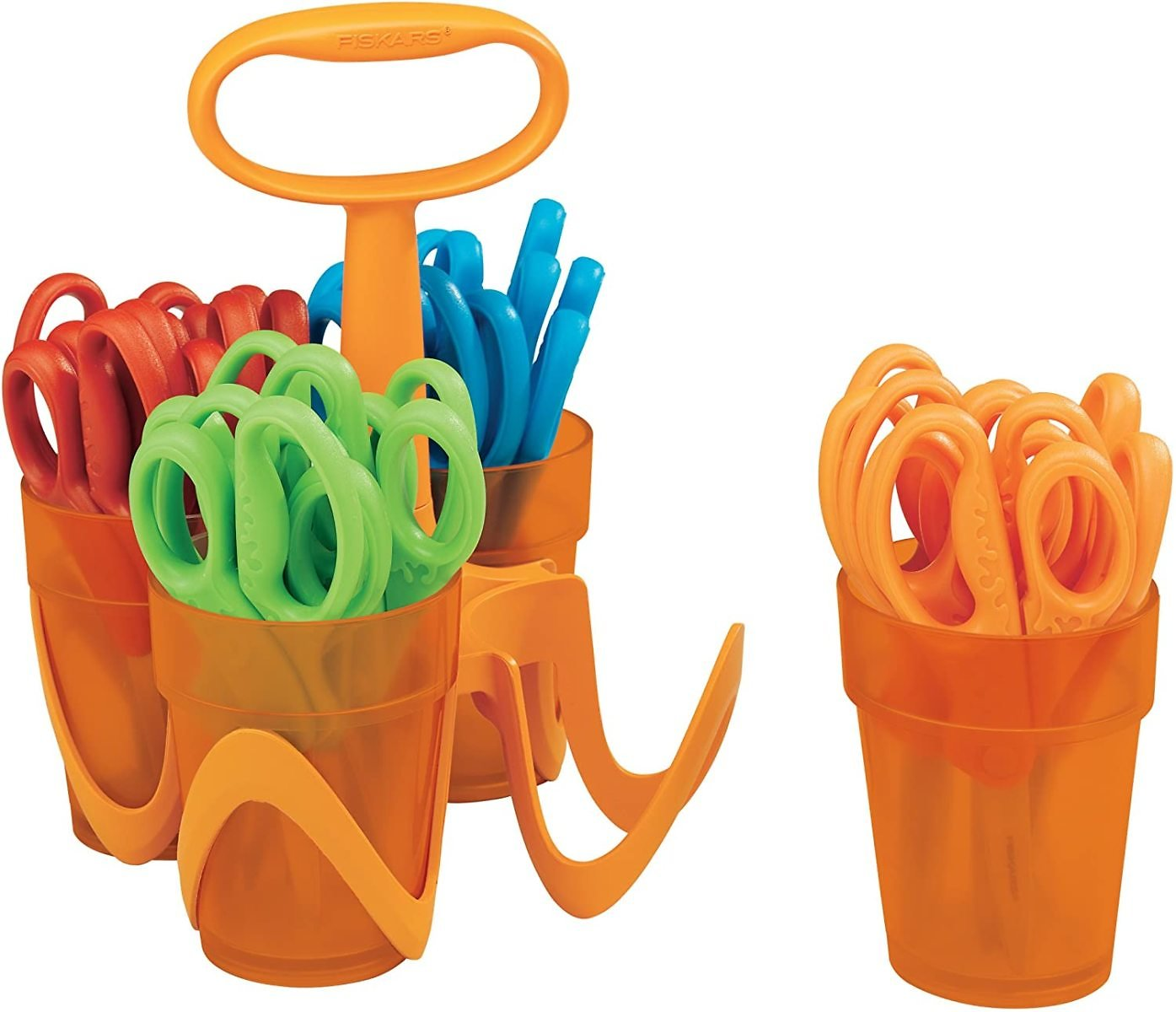 24-Count Fiskars 5 Inch Blunt-tip Kids Scissors with 4-Cup Carrying Caddy