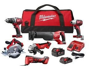 Milwaukee M18 18-Volt Lithium-Ion Cordless Combo Kit (6-Tool) with Two Batteries, Charger and Two Tool Bags-2697-26