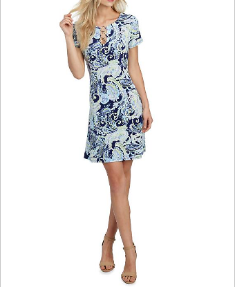 Paisley Dress with Triple O-Ring Accent