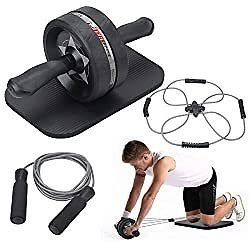 EnterSports Ab Roller Wheel, 4 in 1 Ab Roller Kit with Knee Pad, Multifunctional Resistance Band