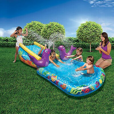 Banzai Kid Toddler Outdoor Inflatable My First Water Slide and Splash Pool 191124844561