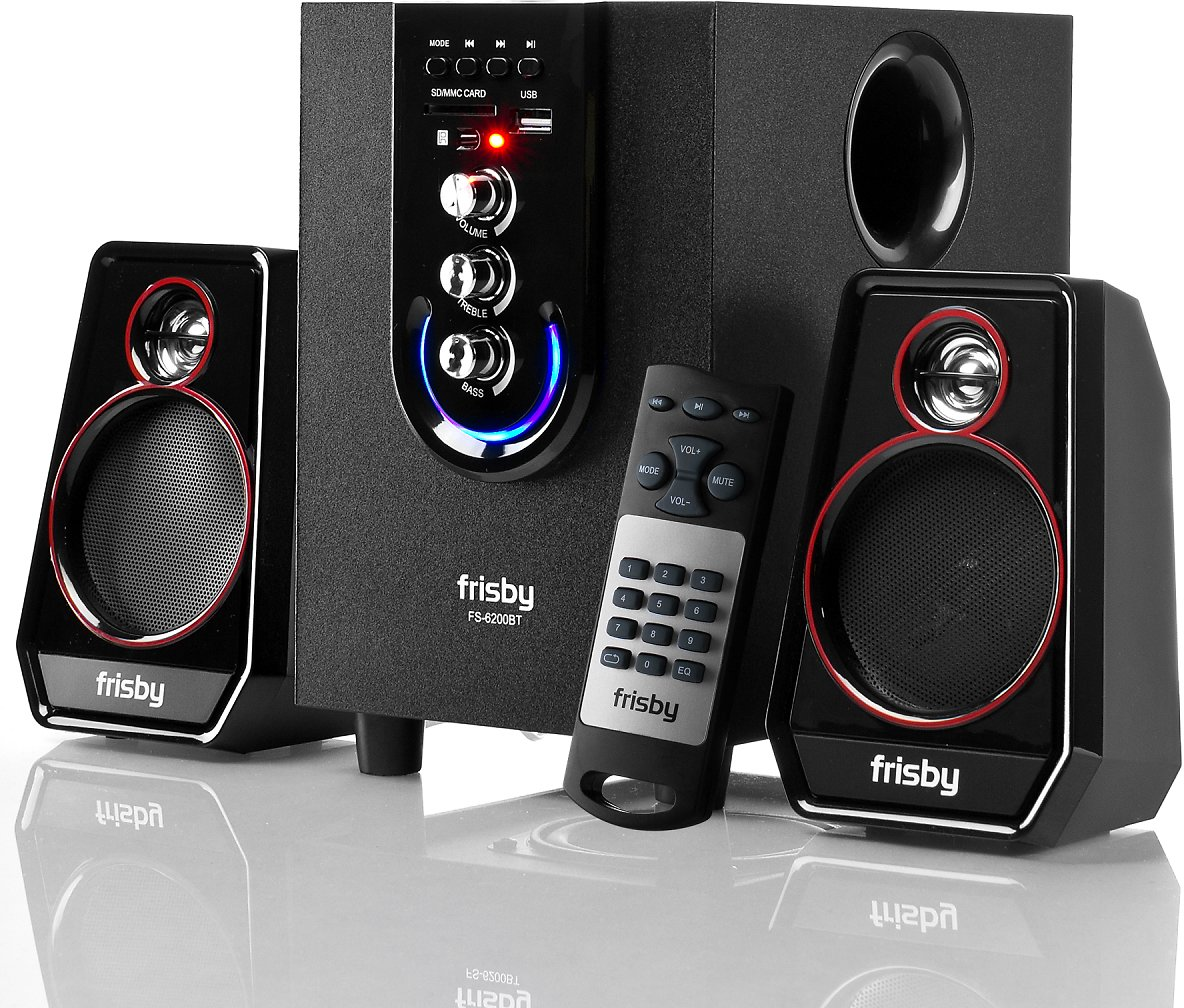 Frisby FS-6200BT Bluetooth Wireless 2.1 CH Media Subwoofer Speaker System w/ Remote (3-Piece)