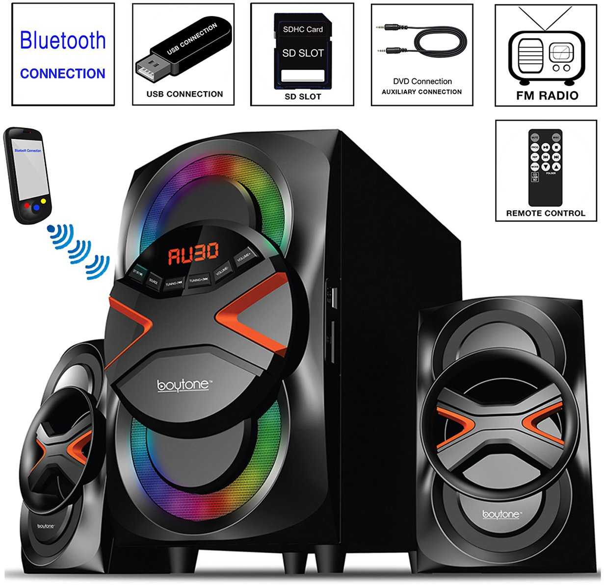 Boytone BT-626F, 2.1 Bluetooth Powerful Home Audio Speaker System