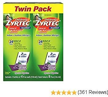 Zyrtec 24 Hr Children's Allergy Syrup with Cetirizine, Sugar-Free Grape, Twin Pack of 4 Fl. Oz