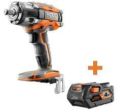 RIDGID 18-Volt OCTANE Cordless Brushless 1/2 In. Impact Wrench with 4.0 Ah Lithium-Ion Battery-R86011B-AC840087