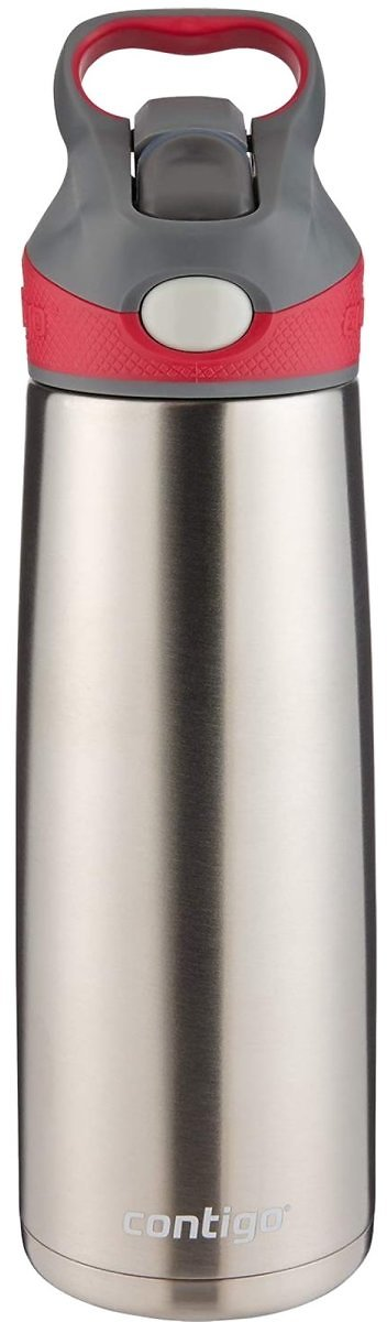 Contigo Autospout Straw Sheffield Stainless Steel Water Bottle with Vacuum Insulation - Ideal for Outdoor Lifestyles, Travel, Gy