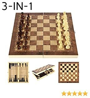 3 In1 Wooden Chess Set