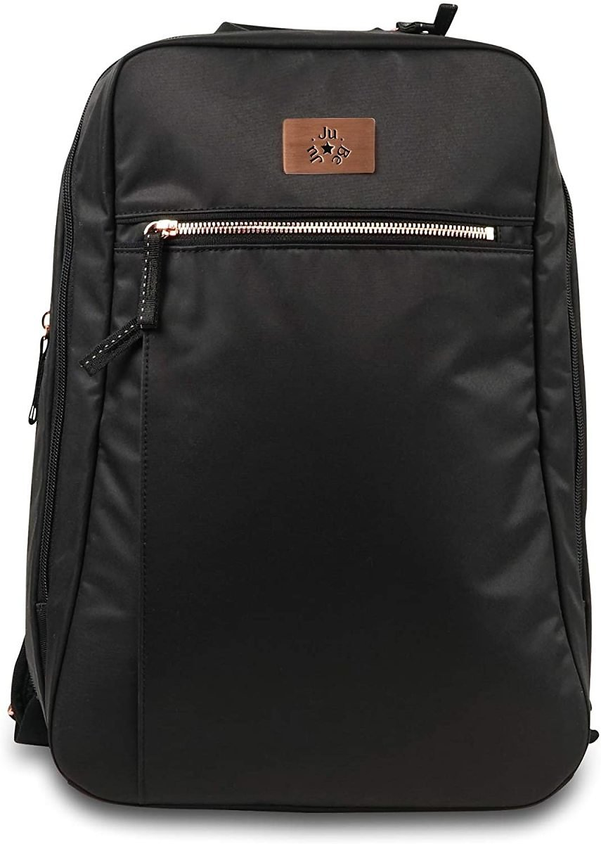 JuJuBe Travel Diaper Backpack with Changing Pad, Black Rose