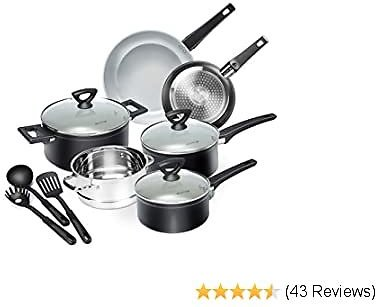 12-Piece Nonstick Cookware Set, Dishwasher Oven Safe Ceramic Pots and Pans Set with Glass Lid, Impact-bonded Technology