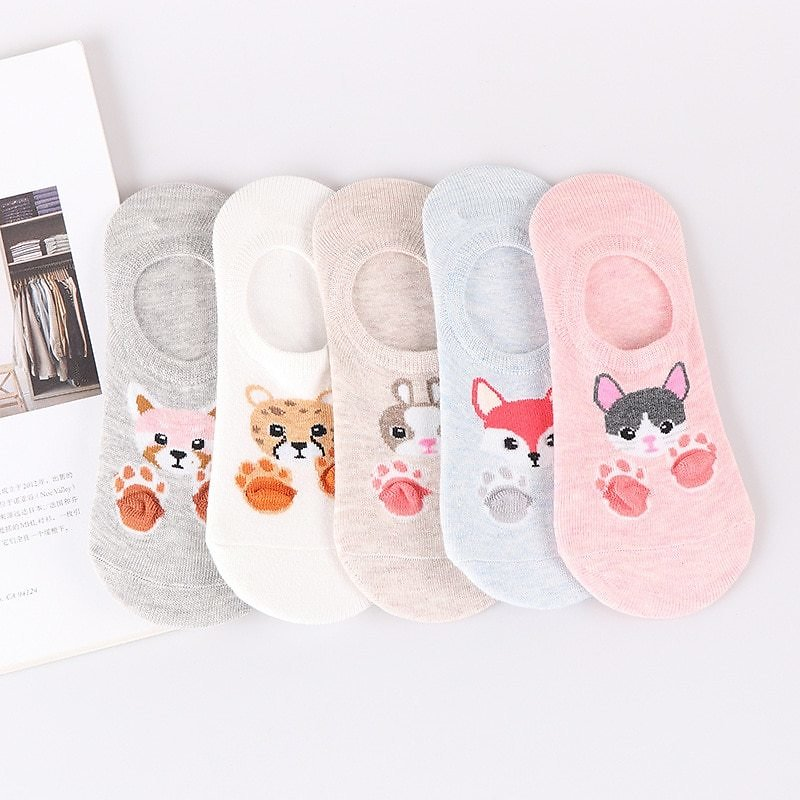 US $3.94 23% OFF|5 Pairs Women's Short Socks Cute Lovely Kawaii Cartoon Sweet Cotton Women Socks Casual Women Ankle Socks Funny Socks Female|Socks| - AliExpress