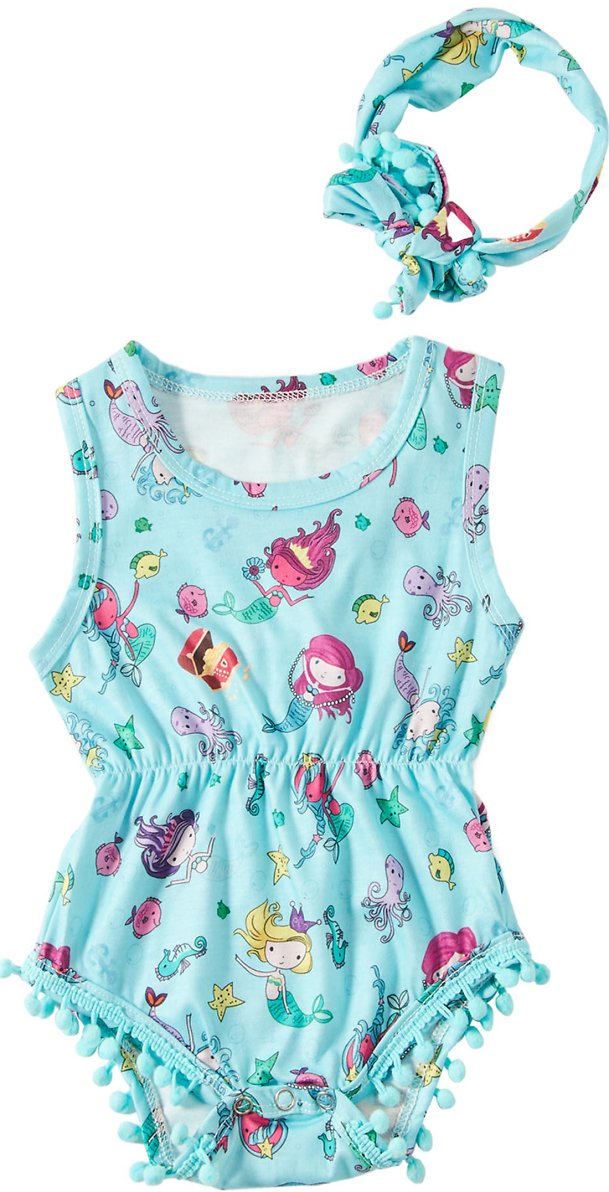 Kids4ever Baby Boys Girls Rompers with Headband Blue Mermaid Oneise 0-24 Months