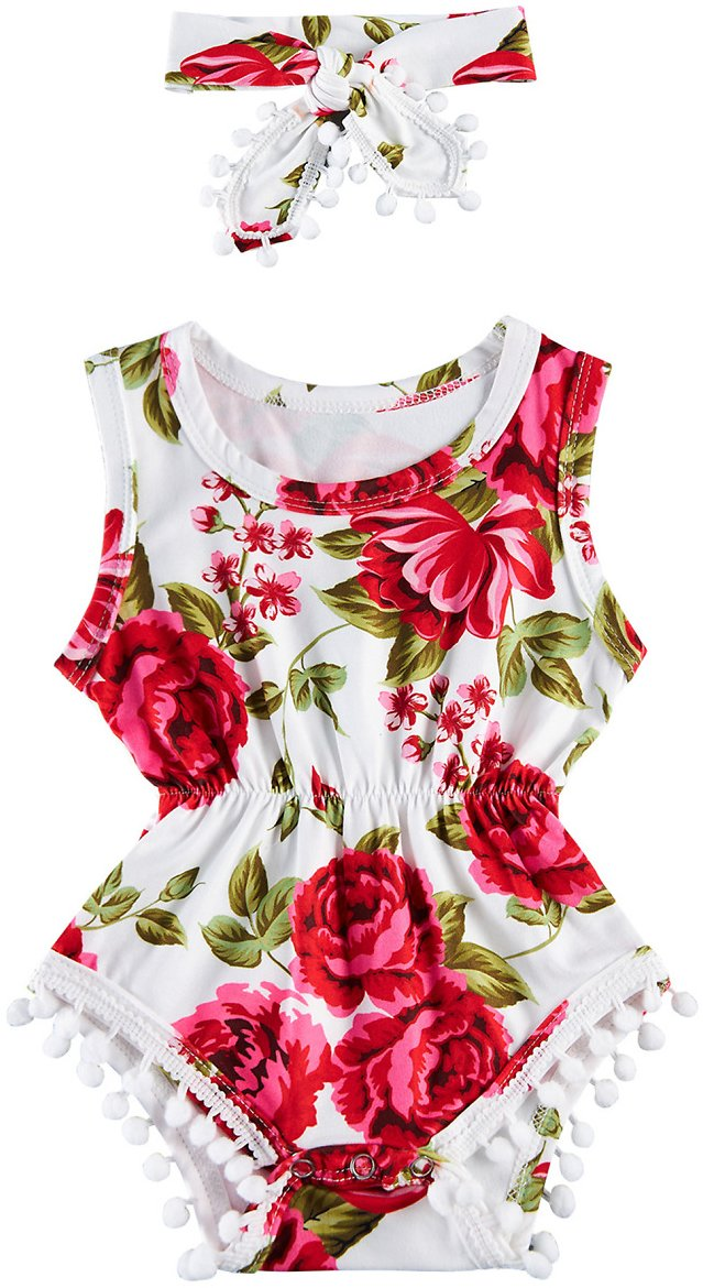 Red Floral Unisex Baby Boy Girl Clothes 2pcs Romper with Headband