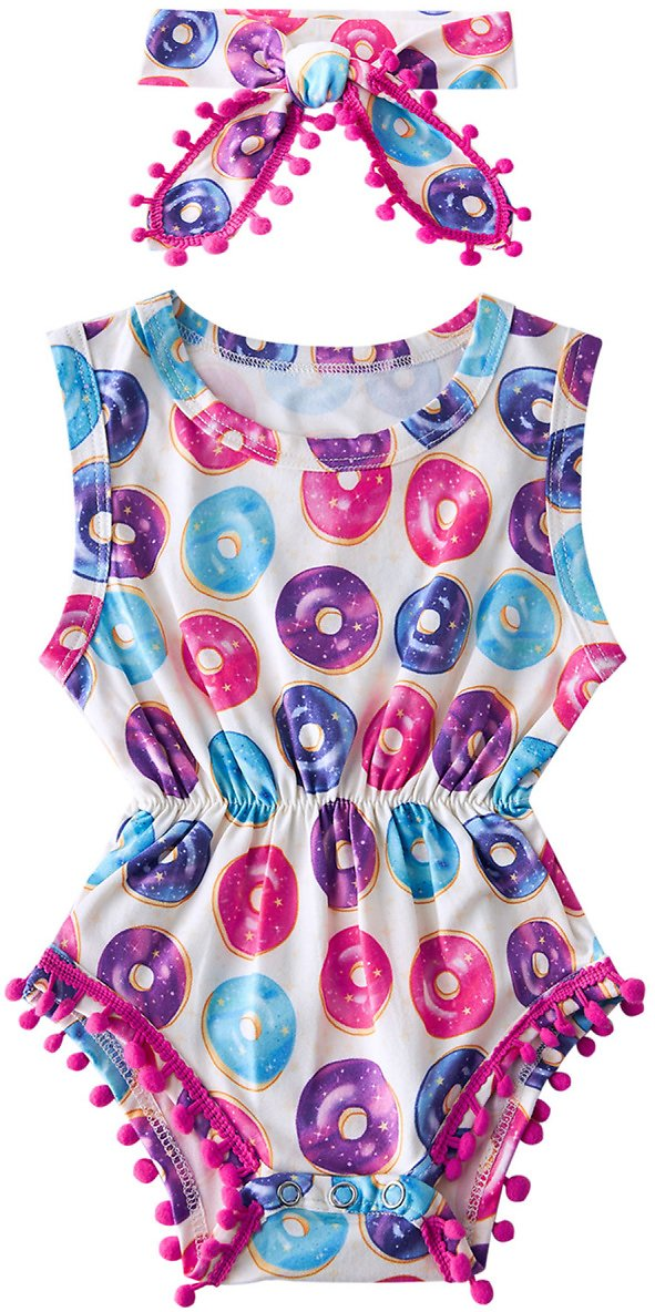 $5.99 for Baby Boy Girl Rompers with Headband(0-24 Months)