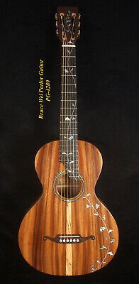 Bruce Wei Solid Acacia Koa Slotted Head Parlor Guitar MOP Vine Inlay PG-4289
