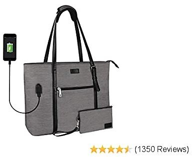 Laptop Tote Bag, Large Women Work Bag Purse USB Teacher Bag Fits 15.6 Inch Laptop