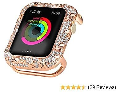 Ritastar Bing Case for Apple Watch 44mm Studded with Shiny Rhinestone Crystal Diamond Stainless Steel Bezel Protective Cover Protector Embossed with Metal Rose Design for IWatch Series 5 4,Rose Gold