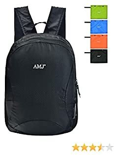 AMJ Men's Hiking Daypack Lightweight Packable Shoulder Backpack for Women Travel Waterproof Foldable Camping Bag for Outdoor Sports &Cycling Black