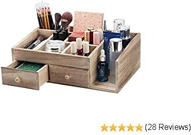 X-cosrack Rustic Wood Desk Cosmetic Office Drawer Storage Organizer Box, Countertop Stationery Coffee Supplies Makeup Organizer Case for Bathroom Vanities Dresser Table-Patent Pending