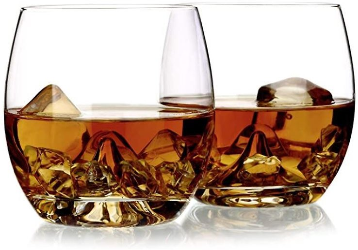 Amazon.com | Whiskey Glasses Set of 2, Rocks Glass 100% Hand Blown 12 Oz, Crystal Mountain Old Fashioned Glass By Amallino: Old Fashioned Glasses