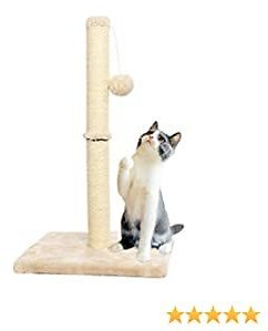 CUPETS Cat Scratching Post Natural Detachable Sisal Pole Post with Collapsible Base Plate and Ball Toy Cat Scratch for Kittens 23 Inches High (Beige)