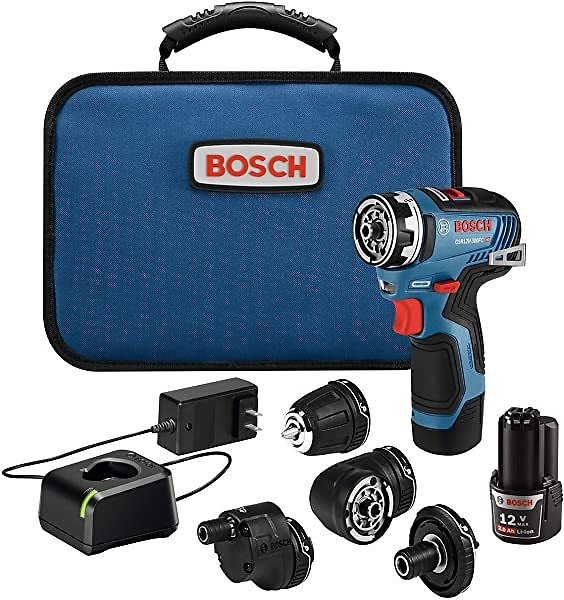 Bosch 12V Max EC Brushless Flexiclick 5-In-1 Drill/Driver System with (2) 2.0 Ah Batteries