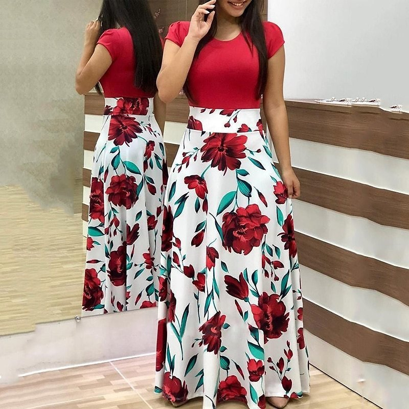 Vintage Floral Print O-neck Long Dress Women Summer 2020 New Short Sleeve Robe Casual Elegant Ladies Maxi Dress Plus Size S-5XL