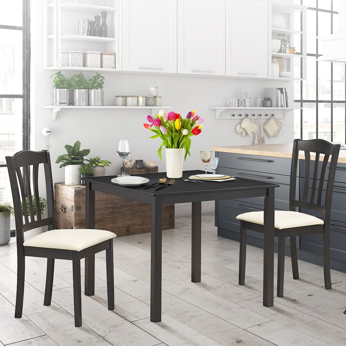 Costway 3 Piece Dining Set Square Dinning Pub Table w/ 2 Solid Wooden Chairs Padded Seat