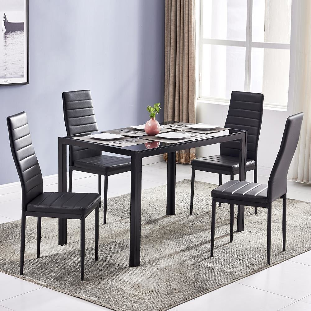 Ktaxon 5 Piece Kitchen Dining Table Set with Glass Table Top 4 Chairs and Metal Frame Table