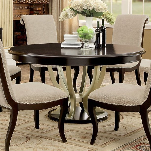 Furniture of America GudrunRound Wood Dining Table in Espresso and Champagne