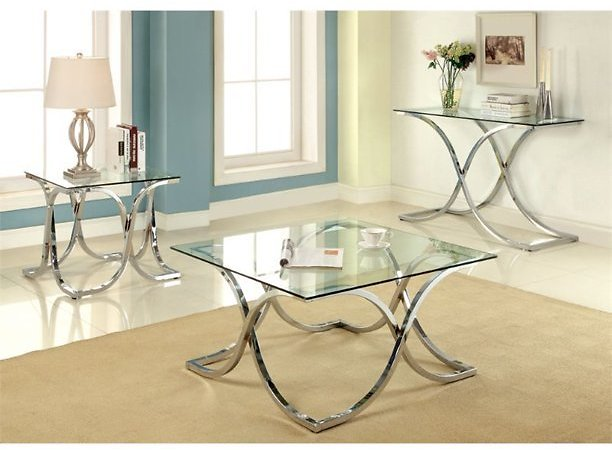 Furniture of America Sarif 3-piece Metal Coffee Table Set in Chrome